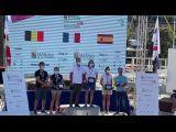 Benjamin Schwartz et Marie Riou, vainqueurs du championnat d'Europe Offshore 2020 - podium